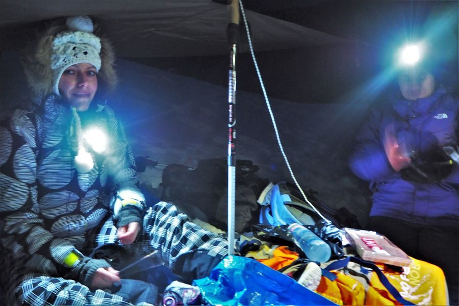 Original night in Glieres and snowshoes treck